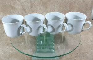 Vintage Seltmann Weiden Bavaria West Germany 4 white Mugs Cups