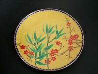 """Vintage Decorative Chinese Enameled Cloisonne Low Footed Plate Bamboo design 8"""""""