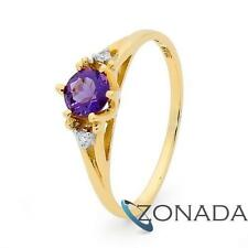 Amethyst GEMSTONE 9ct Solid Yellow Gold Solitaire Ring Size P 7.75 25219/am