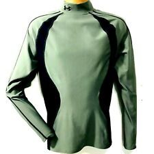 Under Armour Cold Gear Chase Mock Men L Compression Green Blue Long Sleeve Base