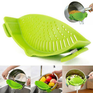 Kitchen Pan Strainer Snap'n Strain Clip On Silicone Pasta Draining Liquid uk