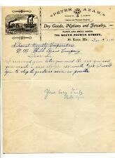 Illustrated Letterhead PETER AZAR  DRY GOODS JEWELRY St Louis MO 1907 boat image