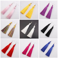 Women Bohemian Fashion Boho Earrings Jewelry Long Tassel Fringe Hook Drop Dangle