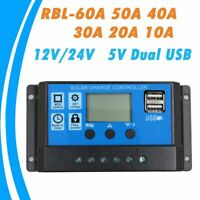 Solar Panel LCD Display Watt Regulator 40A 50A 60A Dual USB Port Sunpower Cell
