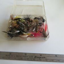 FLY FISHING LURE  40 PLUS  FLIES   IN A PLASTIC BOX