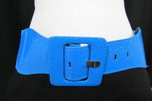 WOMEN HIP ELASTIC HIGH WAIST BRIGHT BLUE STRETCH FASHION BELT SQUARE BUCKLE S M