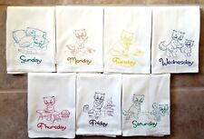 COLORED KITTEN DAYS OF THE WEEK EMBROIDERED FLOUR SACK DISH TOWELS