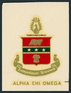 Alpha Chi Omega **RARE** Original 60's Fraternity Decal/Sticker VTG Coat of Arms