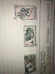 3 stamps - Central African Republic  - Butterfly's plants - free post