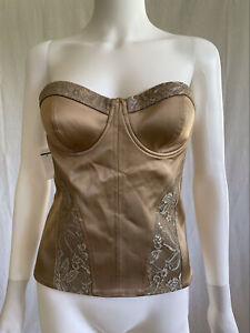 Marciano Women's Dreamlover Strapless Bustier Corset Nylon Gold Full Zip Size 4