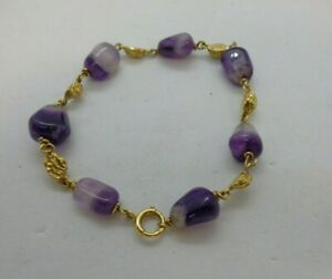 18ct Yellow Gold & Amethyst Stone Bracelet Nugget Links Gift Boxed VGC  #90