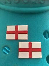 2 England Flag Shoe Charms For Crocs and Jibbitz Wristbands. Free UK P&P.
