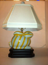 Yellow/White Striped Bunny Rabbit Table Lamp Desk Bed Side Light Includes Shade