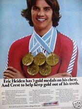 "1980 CREST Eric Heiden-5 GOLD MEDALS Original Print Ad 8.5 x 10.5"""