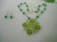US GREEN Theme Beads Stones Glass Pendant Choker Necklace Earrings Jewelry Set