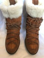 Tan Lace-up Suede Sheepskin Shearling Fur Ankle Boots Size 7 40 Minelli