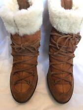Tan lacets en daim peau de mouton shearling Fourrure Cheville Bottes Taille 7 40 Minelli