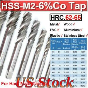 DIN371//376 Ground Threads H2 High Speed Steel 6542 Round Shank with Square End uxcell M2 x 0.4 Spiral Point Threading Tap TICN Coated Finish 2pcs