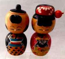 Vintage Japanese KOKESHI Wooden Dolls Pair Couple Hand Made