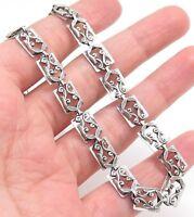 Antique Danecraft  Art-Deco Sterling Silver Leaves Link Choker Necklace