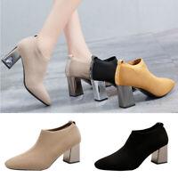 Womens Ladies Pointed Toe Ankle Boots Block Heel Slip On Chelsea Booties Size UK