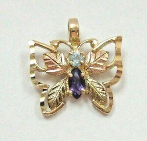 Gorgeous Real 10K Black Hills GOLD Butterfly Pendant w/ Amethyst & Blue Topaz