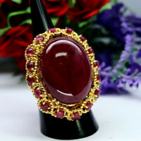 NATURAL HUGE 19 X 26 mm. OVAL WITH ROUND RED RUBY RING 925 STERLING SILVER
