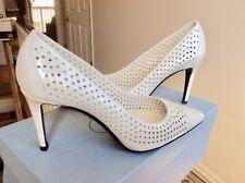 Womens Prada Shoes Heels Pumps White Perforated Vernice Patent Leather Sz 36 NIB