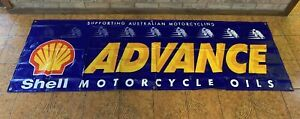 Shell Advance Motorcycle Oils Racing Sponsor Large Hanging Display Sign Blue