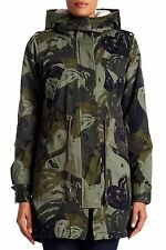 DESIGUAL KHAKI HEART CAMO HOODED PARKA COAT WITH DETACHABLE LINING SIZE UK 10