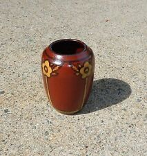 North Dakota School of Mines Art Pottery Vase ~ Signed HUCK ~ Praire Rose