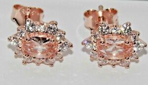 9ct Rose Gold on Silver Morganite & White Topaz Ladies Cluster Stud Earrings -