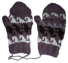 Winter GLITTEN - Purple Colorful Handmade Pakistani Wool - Flip Glove Mitten A1