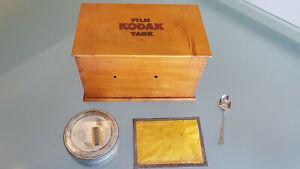 VINTAGE KODAK DEVELOPING BOX, FRAME & TIN. AS SHOWN.  25cm LONG X 14.5 HIGH.