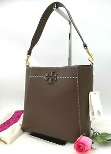 AUTH NWT $498 Tory Burch McGraw Smooth Leather Slouchy Hobo Bag In Cold Brew