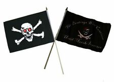"12x18 12""x18"" Wholesale Combo Pirate Red Eyes Skull & Beatings Morale Stick Flag"