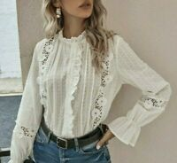 XL New Boho White Lace Button Front Blouse Vtg 70s Insp Top Womens Size X-LARGE