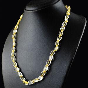 232 Cts Earth Mined Single Strand Citrine Oval Shape Beads Necklace JK 57KY6