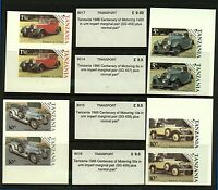 Tanzania 1986 Centenary of Motoring 1s50, 5/-, 10/- and 30/- imperf pairs Stamps