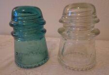 "Antique Set of 2 Blue Green Clear Telephone Insulators Hemingray 4"""