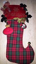 "NEW Disney Deluxe Christmas Stocking Plush Holiday Believe Elegant 29""x13"" GIANT"