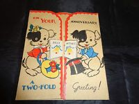 Vintage Anniversary Two Fold Greeting Card UNUSED Adorable Puppies