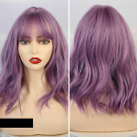 2020 Hot Pop Purple Women Wig Short Curly Thick Full Bangs Synthetic Holiday Wig