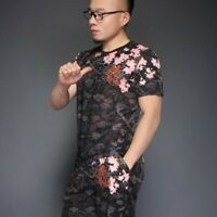 Mens Crew Neck Slim Fit Short Sleeve Casual T-shirts Chinese Dragon Muk15