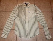 Abercrombie Boys XL White with Green Striped Long Sleeve Button Front Shirt