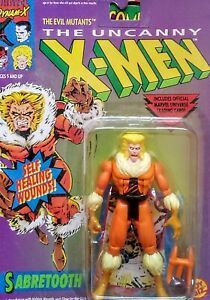 UNCANNY X-MEN SABRETOOTH w/Self Healing Wounds, 1992 Toy Biz, Marvel-New on Card