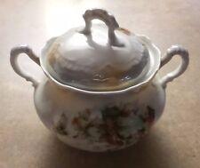 Vintage Porcelain Floral Covered Sugar Bowl with Handles –Bavaria