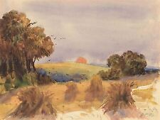 HERCULES BRABAZON BRITISH CORNFIELD SUNSET OLD ART PAINTING POSTER BB5681A