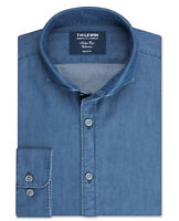 T.M.Lewin Mens Slim Fit Navy Indigo Single Cuff Shirt