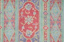4 Drapes Schumacher NeoClassical Art Noveau  Old World Stripe Jade Aqua & Cerise